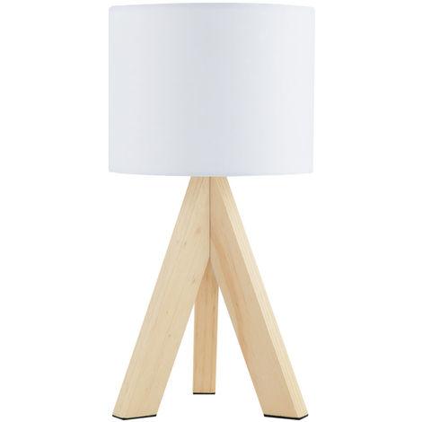 Lampe à poser, bois, abat-jour textile blanc, H 33,5 cm
