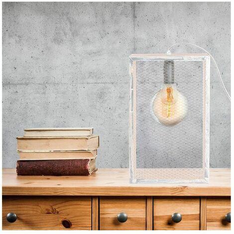Lampe à poser cage en bois - L 18 x l 11 x H 29 cm - Blanc