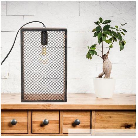 Lampe à poser cage en bois - L 18 x l 11 x H 29 cm - Noir