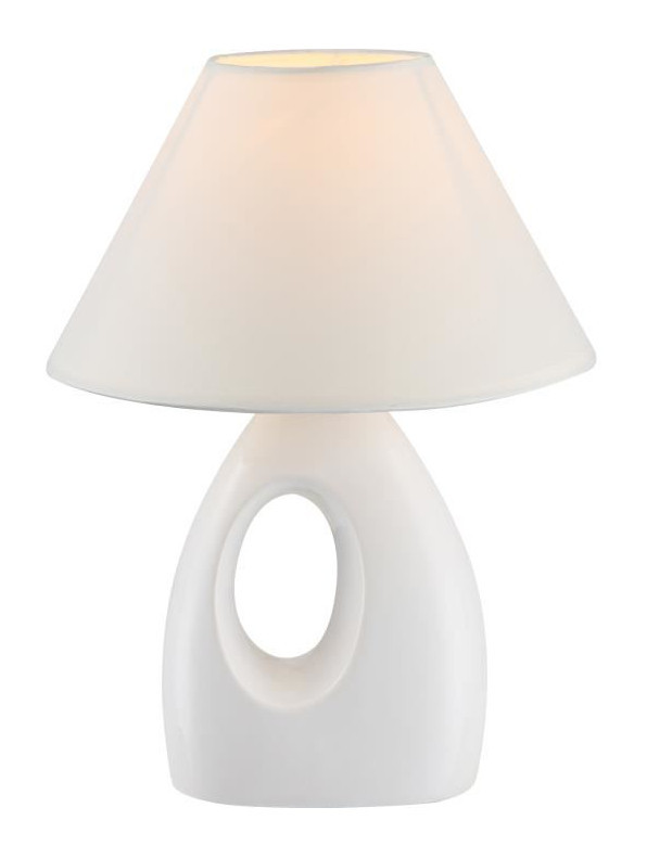 Blanc Hauteur 26 Tissu Poser Céramique Interrupteur Cm 20 Lampe A Diametre WCQerxBdo