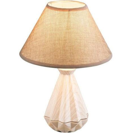 Lampe a poser céramique - Tissu marron - Interrupteur - Diametre 22 cm - Hauteur 32 cm - Blanc