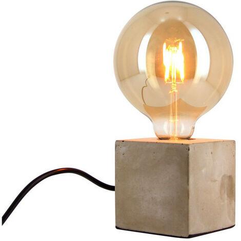 Lampe à poser CUBE en béton (culot E27) + ampoule globe Vintage fumée