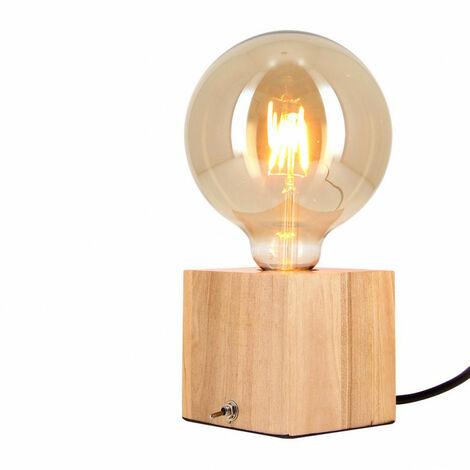 Lampe à poser cube en bois + ampoule globe G125 Vintage incluse