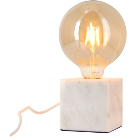 Lampe à poser CUBE en marbre blanc (culot E27) + ampoule globe Vintage fumée