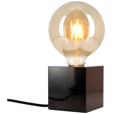 Lampe à poser CUBE en marbre noir (culot E27) + ampoule globe Vintage fumée