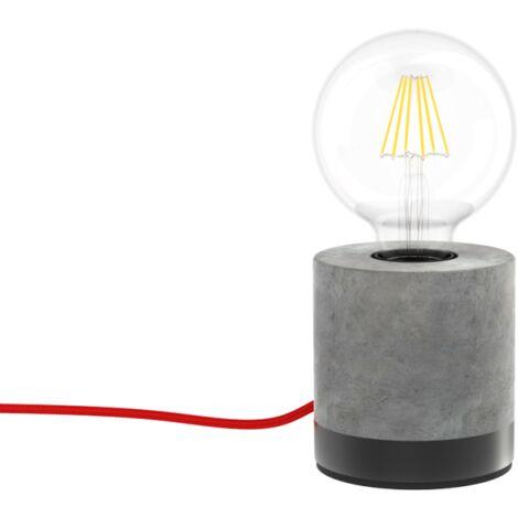 Lampe à poser CYCLO, en béton & fil rouge, culot E27 | Xanlite