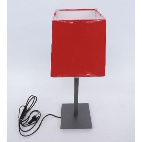 Lampe à poser déco anthracite avec abat-jour pyramidal tissu rouge 160X130mm et inter lampe E27 230V (non incl) IP20 TRAJECTOIRE