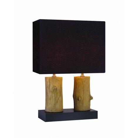 Lampe à poser décoration bois - luminaire double décoratif chalet chic - TREE 2 - Noir
