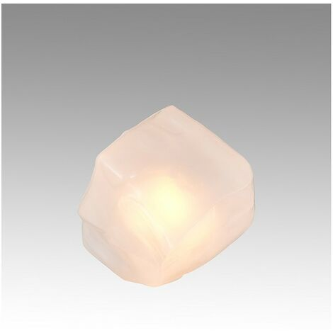 Lampe à poser design multi-facettes en verre opale – METEORE OPALE
