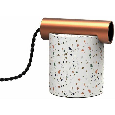 Lampe à poser ÉCLIPSE en terrazzo & métal cuivré, culot E27 | Xanlite