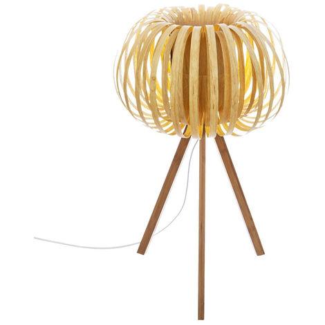 lampe à poser effet bois - D.32,5 x H.55 cm -PEGANE-