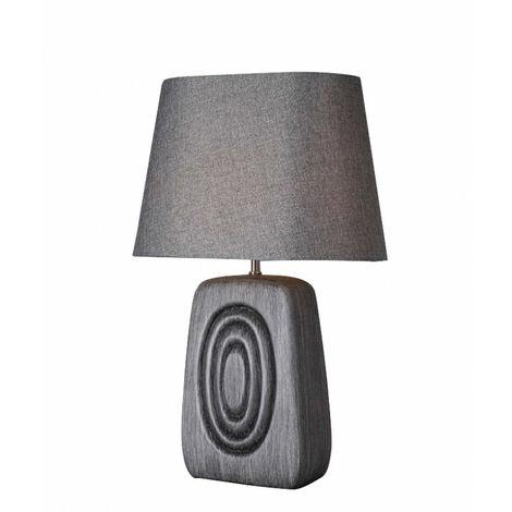 Lampe à poser effet bois gris brun CIRCLE - Gris
