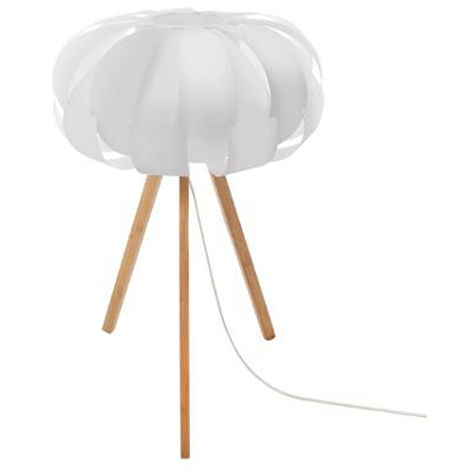 Lampe à poser en bambou et polypropylène, blanc - Dim : D. 32,5 x H. 55 cm