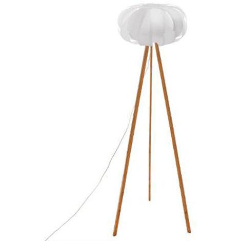 Lampe à poser en bambou et polypropylène, blanc - Dim : D.68 x H.150 cm