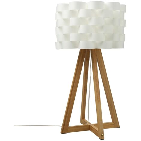Lampe à poser en bambou MOKI H55cm - Blanc