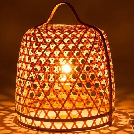 Lampe à poser en bambou naturel et métal