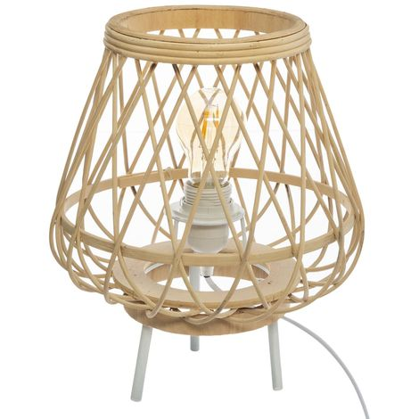 Lampe à poser en bambou Ritual - H. 31 cm - Beige