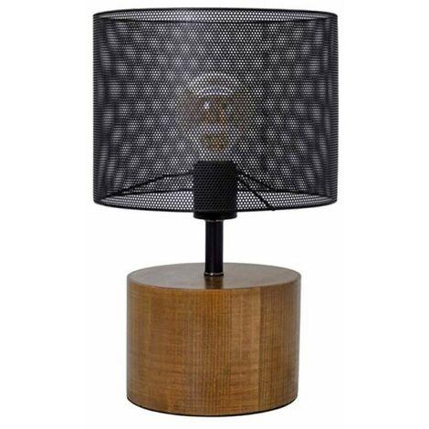 Lampe à poser en bois ampoule LED - Noir