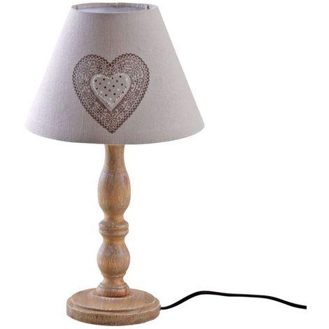 Lampe à poser en bois et coton imprimé coeur - Marron