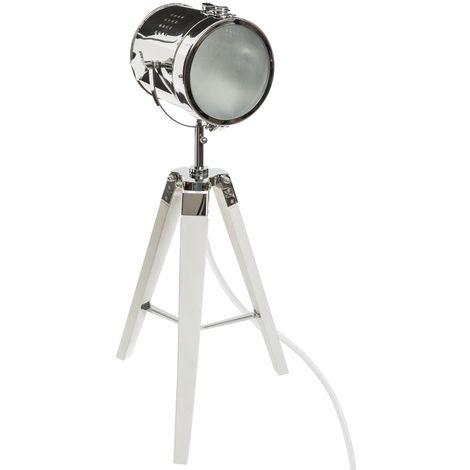 Lampe a poser en bois et metal blanc H.68 cm -PEGANE-