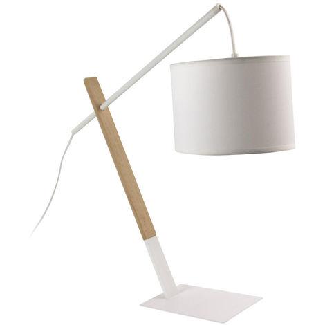 Lampe à poser en bois et métal coloris blanc - Dim : H 45.3 x L 57 x P 20.5 cm