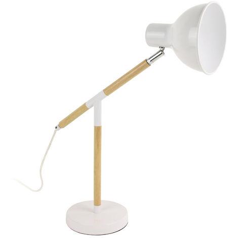 Lampe à poser en bois et métal coloris blanc - Dim : H 47.6 x L 48.5 x P 16 cm