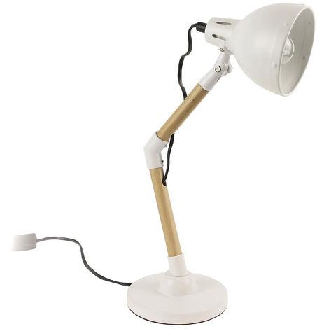 Lampe à poser en bois et métal coloris blanc et marron - Dim : H 42 x L 22 x P 13.7 cm