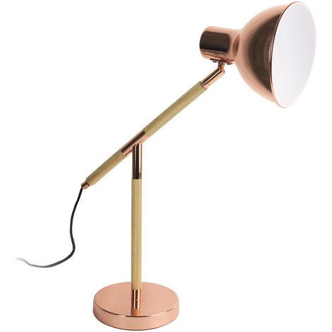Lampe à poser en bois et métal coloris cuivre - Dim : H 47.6 x L 48.5 x P 16 cm