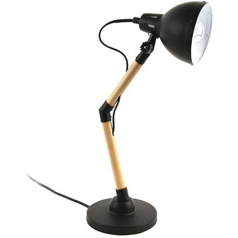Lampe à poser en bois et métal coloris noir et marron - Dim : H 42 x L 22 x P 13.7 cm