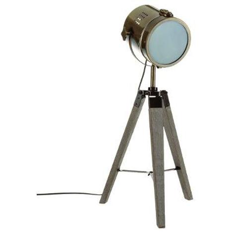 Lampe à poser en bois et métal cuivré, H.68 cm