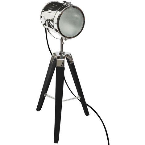 Lampe a poser en bois et metal noir H.68 cm -PEGANE-