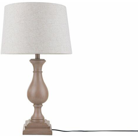 Lampe à poser en bois et tissu