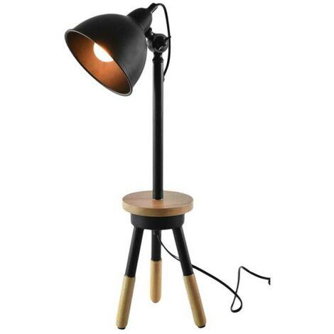 Lampe à poser en bois noir avec plateau - Noir