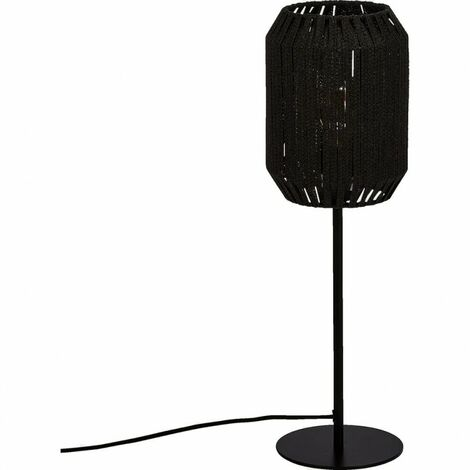 Lampe à poser en corde et métal noir - GAMBI - Noir