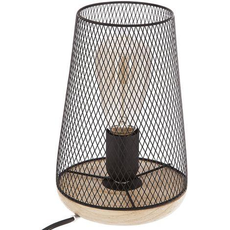 Lampe à poser en fer et bois - H. 23 cm - Noir - Noir