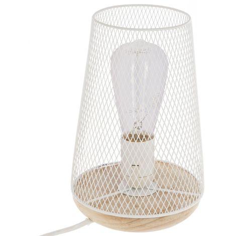 Lampe à poser en fer et bois Otu - H. 23 cm - Blanc - Blanc