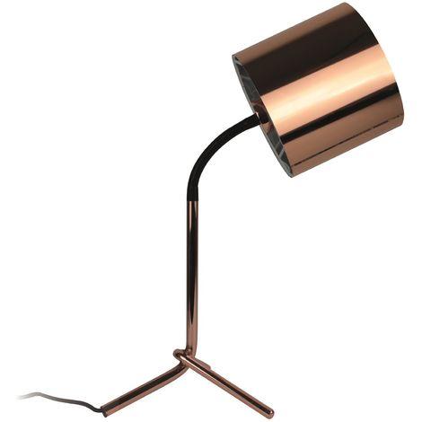 Lampe à poser en métal coloris cuivre - Dim : H 62 x L 30 x P 25 cm