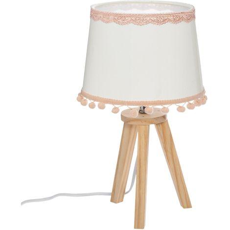 Lampe à poser enfant en bois Bohème - H. 32 cm - Blanc