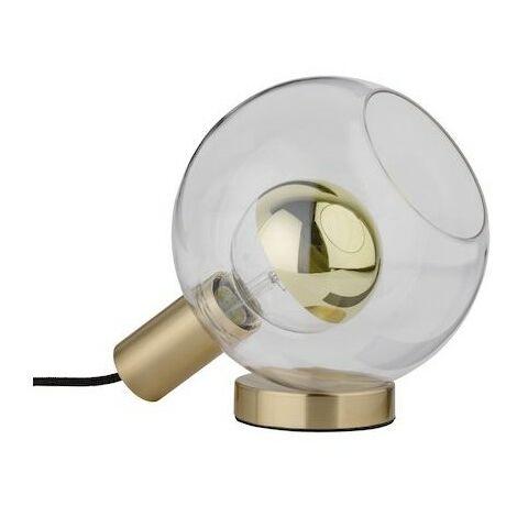 Lampe à poser Esben - 20W - E27 - Sans ampoule - Dimmable - Verre clair/Laiton brossé