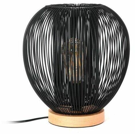 Lampe à poser filaire en forme de boule - L 27,5 x l 27,5 x H 27,5 cm - Noir