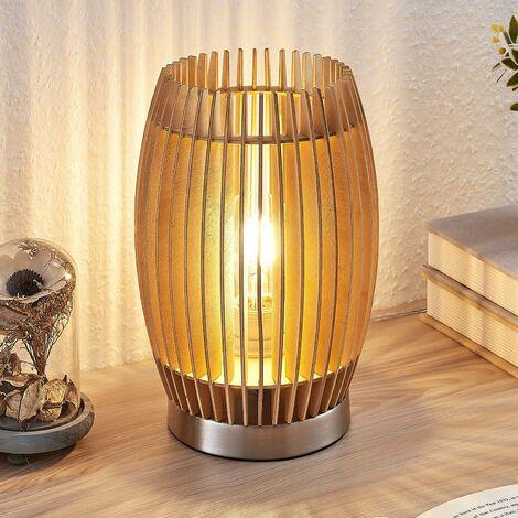 Lampe à poser 'Jemile' en bois pour salon & salle à manger