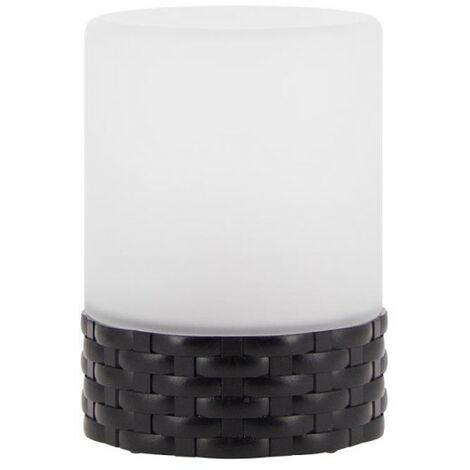 Lampe à poser LED Solaire, verre dépoli et base effet osier, extérieur : IP44 | Xanlite