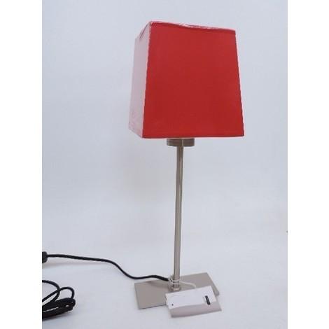 Lampe à poser nickel satiné abat-jour pyramide tissu rouge 160X130mm et inter lampe E27 230V (non incl) IP20 TRAJECTOIRE