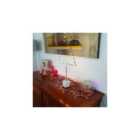 Lampe à poser Noir/Blanc Huxi Sapin, LED, IP20, 30 Leds, 3x AA battery, Classe III