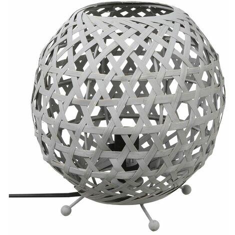 Lampe à poser ovale en bambou Yazu - gris - Atmosphera