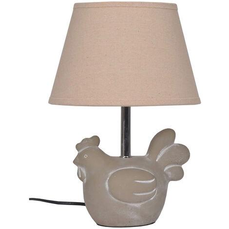 Lampe à poser pied ciment poule - Beige