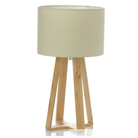Lampe à poser - Pied en bois - Blanc - Luminaire de table