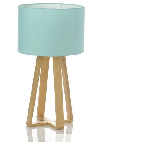 Lampe à poser - Pied en bois - Bleu - Luminaire de table