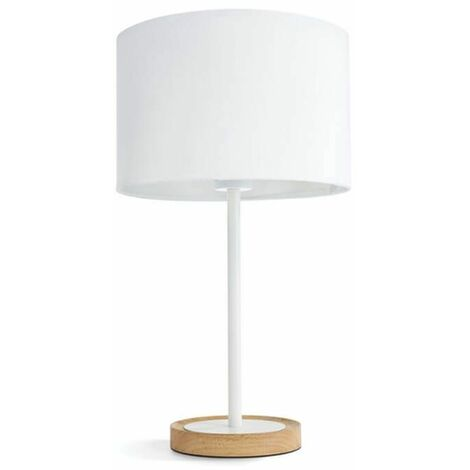 Lampe à poser pied en bois Limba H50 cm - Blanc - Blanc