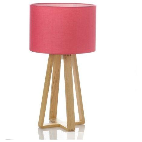 Lampe à poser - Pied en bois - Rose - Luminaire de table